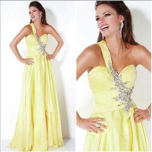 Jovani yellow formal prom gown jeweled EUC